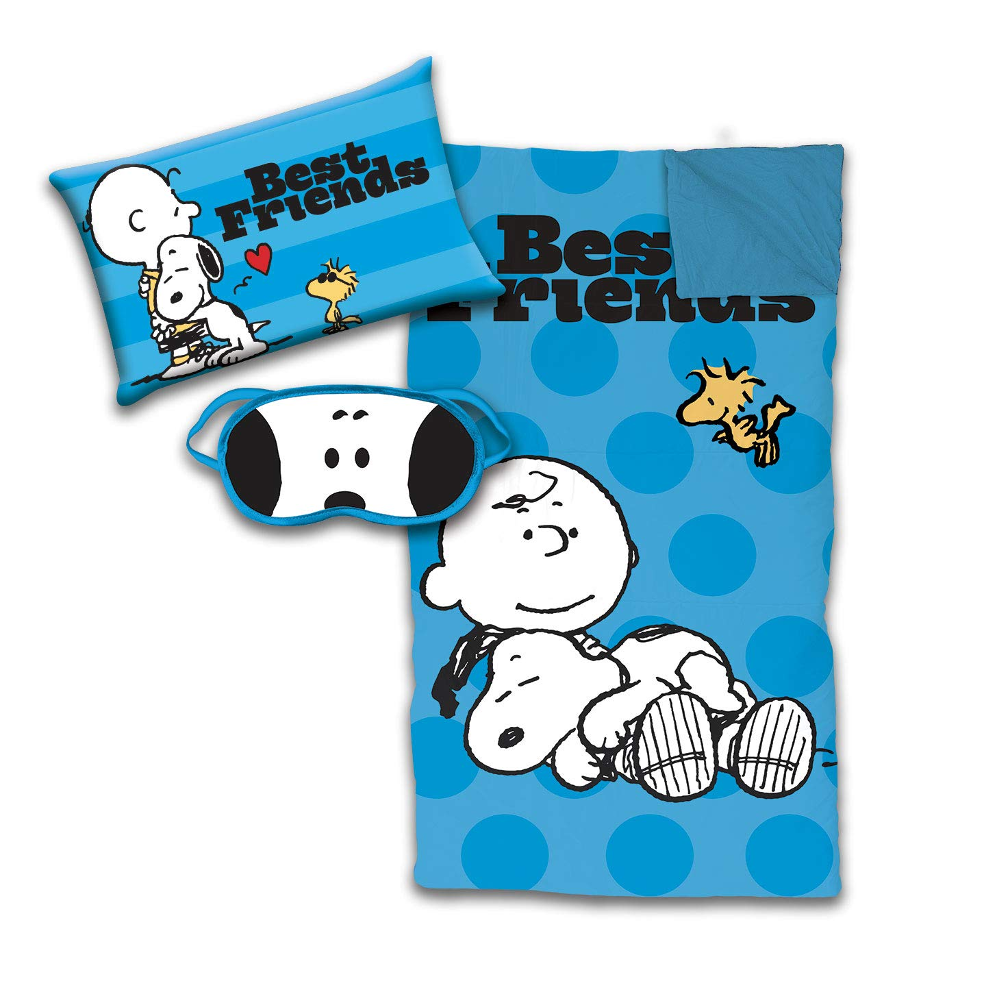 Jay Franco Peanuts Snoopy 3 Piece Sleepover Set - Cozy & Warm Kids Slumber Bag with Pillow & Eye Mask - Featuring Charlie Brown & Woodstock (Official Peanuts Product)
