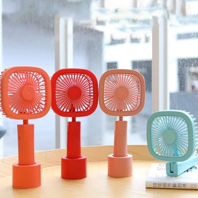 USB Fans USB Charging Fan Summer Cool Foldable Handheld Fan Mini Desktop Square Fan Round Fan 3 Gear Wind for Home Color : Square Orange Outdoor Travel Office