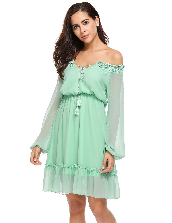440eb2116e31 lantusi Off Shoulder Chiffon Dress Sexy for Women Chiffon Off Shoulder Dress  Plus Size Black Green Chiffon Dresses with Sleeves for Girls Women Ladies  ...