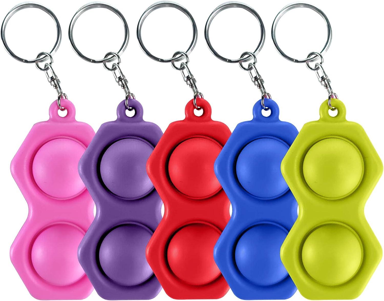 Pop Simple Dimple Fidget Toys - 5 PCS Mini Push it Pop Bubble Fidget Toys Sensory popper,Portable Stress Relief Hand Keychain for Kids Adults in Home,School, Hexagon (Green,Red,Blue,Pink,Purple)