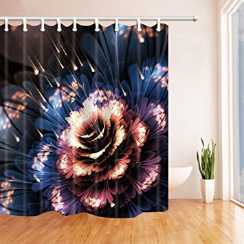 HiSoho Abstract Spring Shower Curtains Glowing Stars Flowers Mildew Resistant Polyester Fabric Bathroom Bath