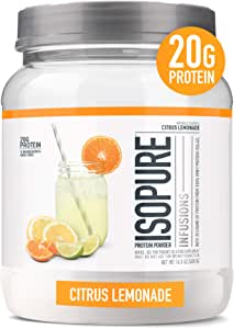 """Isopure Infusions, Refreshingly Light Fruit Flavored Whey Protein Isolate Powder, """"Shake Vigorously & Infuses in a Minute"""" Citrus Lemonade, 16 Servings"""