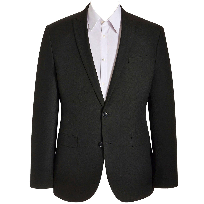 HBDesign Mens 1 Piece 2 Button Peak Lapel Business Fit Formal Suit Black HM540BKJ