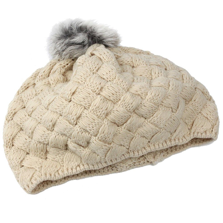 niceEshop(TM) Baby Infant Knit Crochet Rib Pom Pom Warm Beanie Hat Cap, Beige