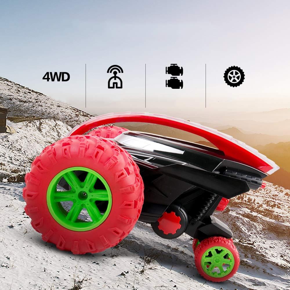 Pinjeer 子供のおもちゃの車のリモートコントロール車充電電気フリップスタントの車のダンプトラックオフロードのワイヤレスリモートコントロール子供のための車の教育用ギフト6 + (Color : Blue, サイズ : 1-Battery) B07QWR1R5T Red 2-Battery 2-Battery Red