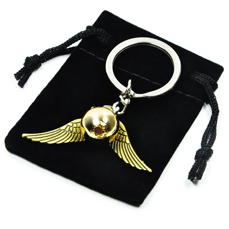 Retro Keyring Angel Wings Pearl Keychain Gold