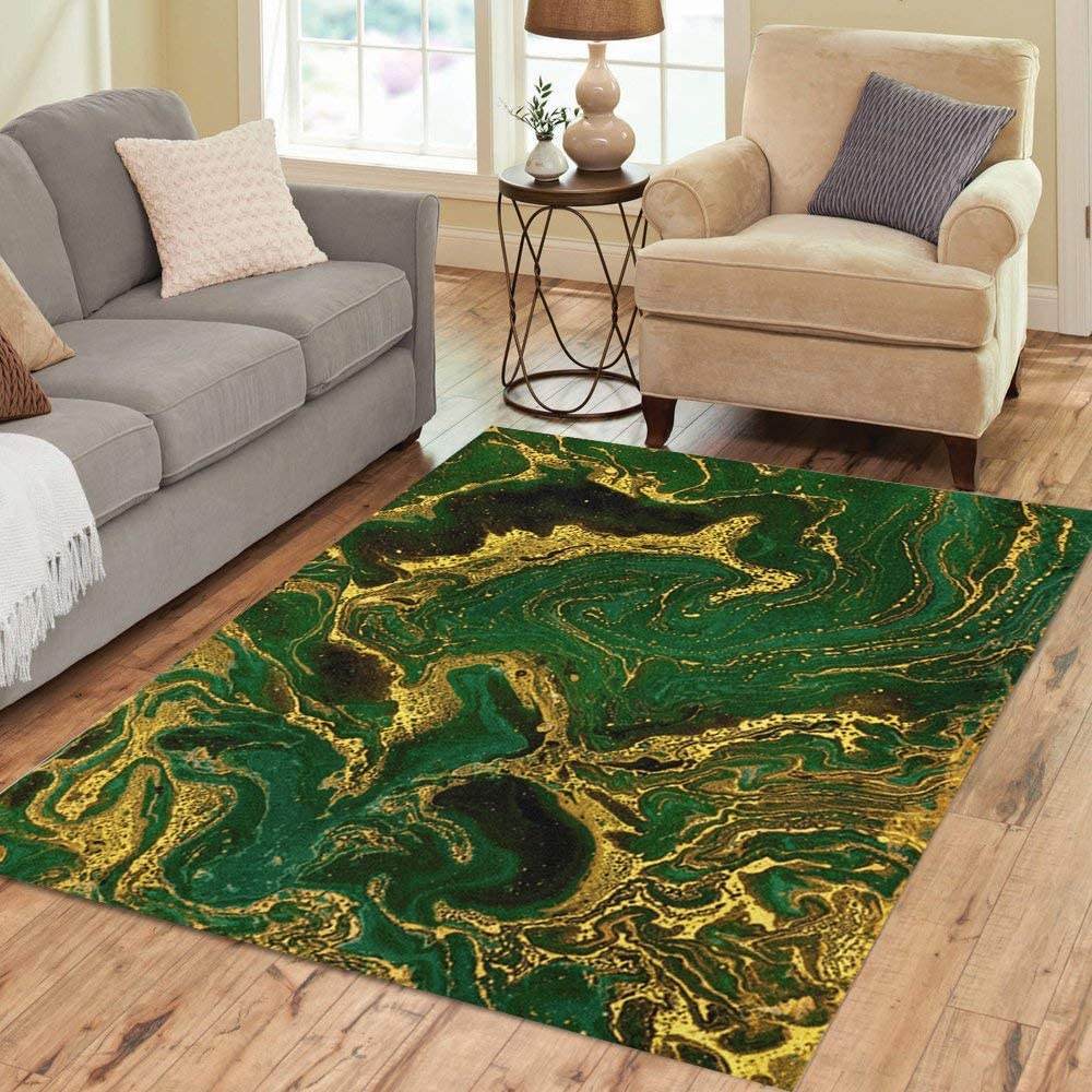 Pinbeam Area Rug Watercolor Gold Marble Abstract Mineral Green Golden Waves Home Decor Floor Rug 2 X 3 Carpet Kitchen Dining