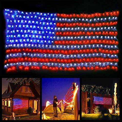 American Flag String Lights,6.5ft 3.3ft Waterproof Outdoor Lighted USA Flag Net Lights Hanging Ornaments for Independence Day , National Day, Christmas Day, Festival Decoration Party Decorations
