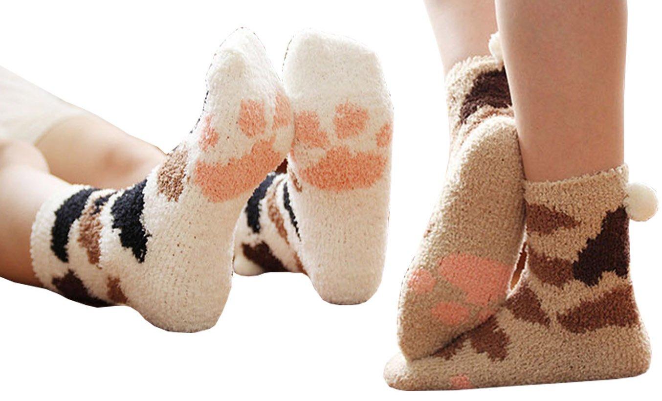 Cute Cat Warm Sleeping Fuzzy Socks for Women (Cat Paw)