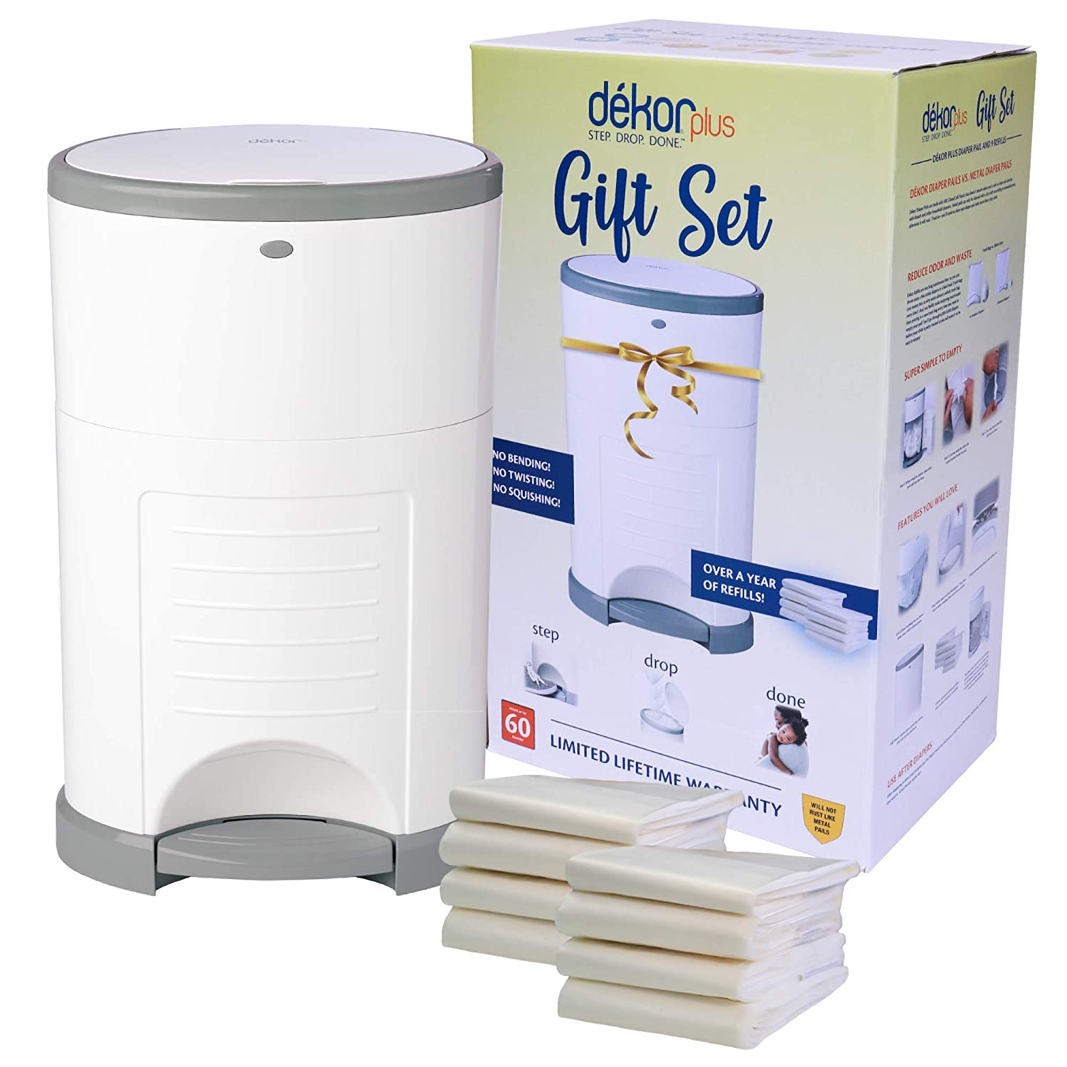 Dékor Plus Diaper Pail Gift Set – White | Comes with Over a Year's Supply Worth of Dékor Refills!