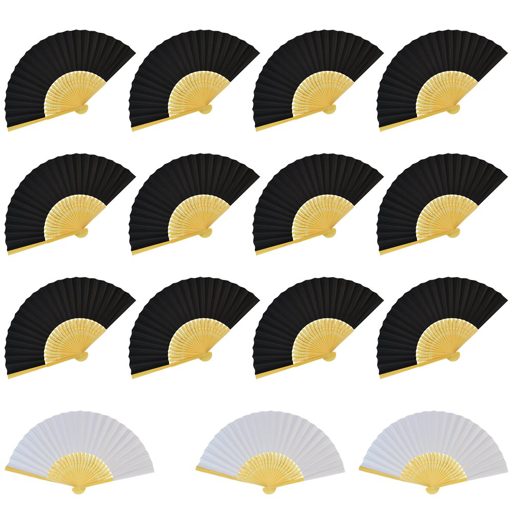 Miayon 15 PCS Silk Bamboo Folding Fans Handheld Folded Fan for Wedding Party and Home Office DIY Decor (12PCS Black and Beige Fan & 3 PCS White Fan) by Miayon
