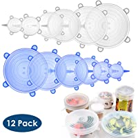 Simpeak Silicone Stretch Lids (12Pcs, 6 Sizes), Reusable Food Elastic Lids Fit Round and Square Bowls of Various Sizes, Keeping Food Fresh Freezer Safe,12 * Round Transparent