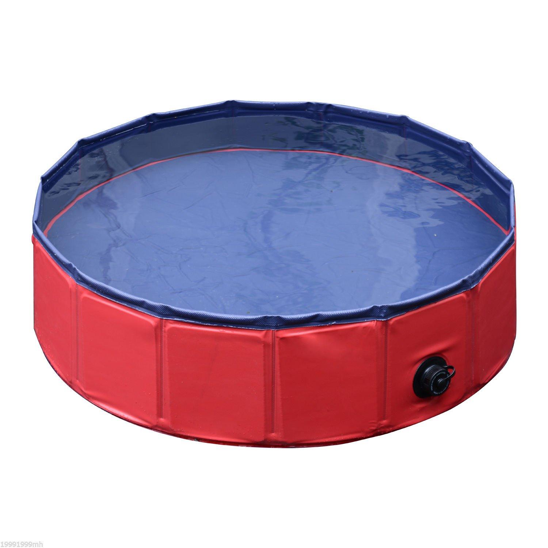 "Red φ31.5"" Red φ31.5"" PawHut D01-003RD Folding Dog Bath Pool Pet Swimming Pool Puppy Bathing Tub Pet Supplies (Φ31.5, Red)"