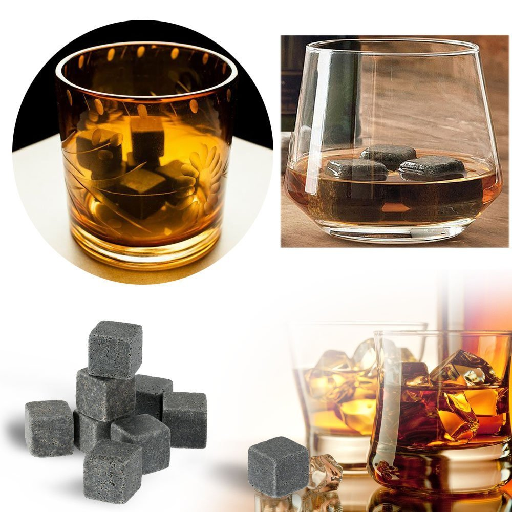Anself 9pcs 18mm Whisky Ice Stones Drinks Wine Cooler Cubes Beer Rocks Granite with Pouch