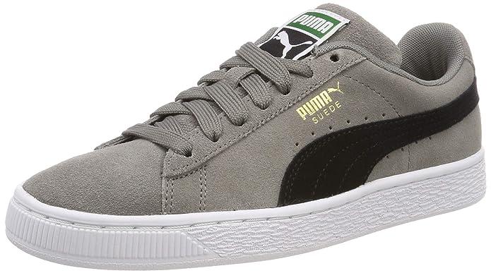 Puma Suede Classic Sneaker Damen Herren Unisex Wildleder Grau mit schwarzem Streifen (Charcoal Grey)