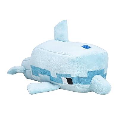 "JINX Minecraft Happy Explorer Dolphin Plush Stuffed Toy, Light Blue, 8"" Long: Toys & Games"