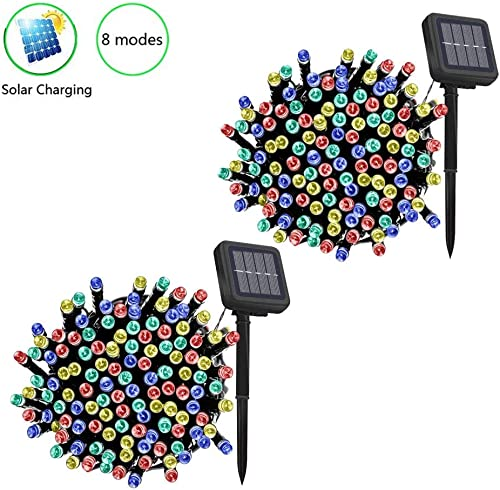2 Pack Fairy Solar String Light Multi-Color Dimmable, 40ft 12.2m 120LED 8 Modes Solar Powered Starry Lighting Waterproof Christmas String Lights for Patio Garden Yard Wedding Dancing Party Decoration