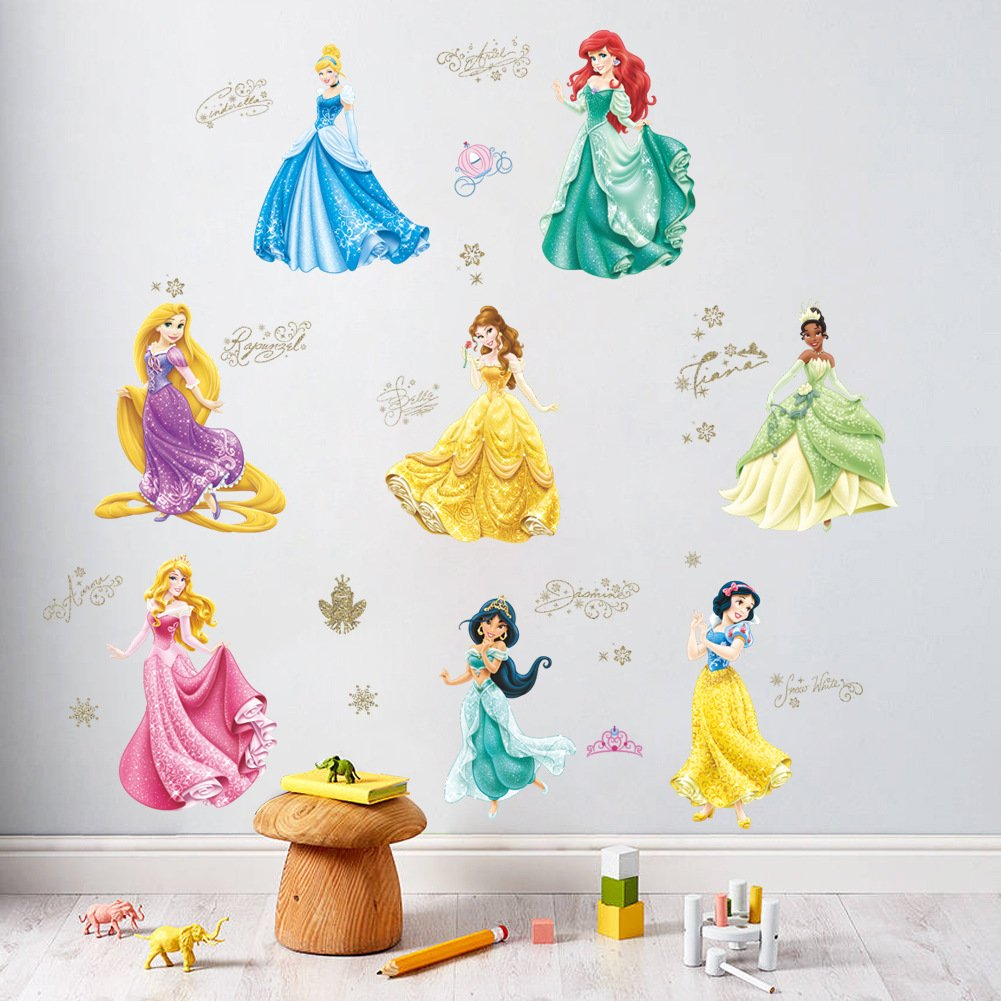 ufengke/® Cartoon White Snow Princess Wall Decals ChildrenS Room Nursery Removable Wall Stickers Murals