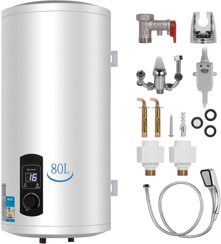 Bisujerro 80L Calentador de Agua Eléctrico 2KW Calentador de Agua con Tanque Hot Water Heater para Uso en Cocina o en Baño (80L)
