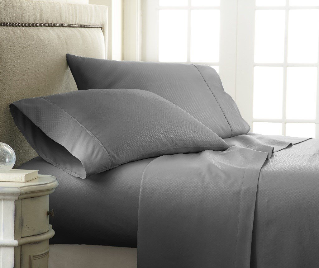 Soft Essentials Premium Embossed Checker Design 3 Piece Bed Sheet Set (Twin - Gray)(Pack of 12)