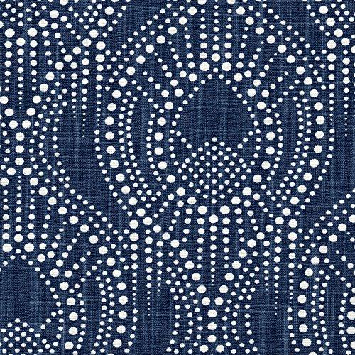 Alyssa Regal Navy Dotted Print Bradford Valance Cotton Bird Toile Back Layer