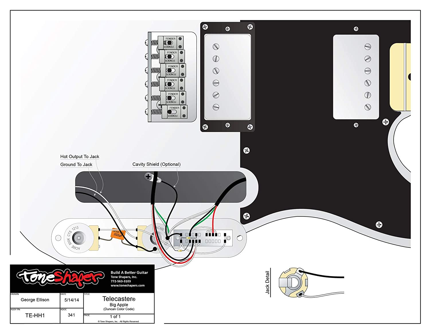 ToneShapers Wiring Kit, Telecaster, HH1 (Big Apple - Requires 4-Conductor on