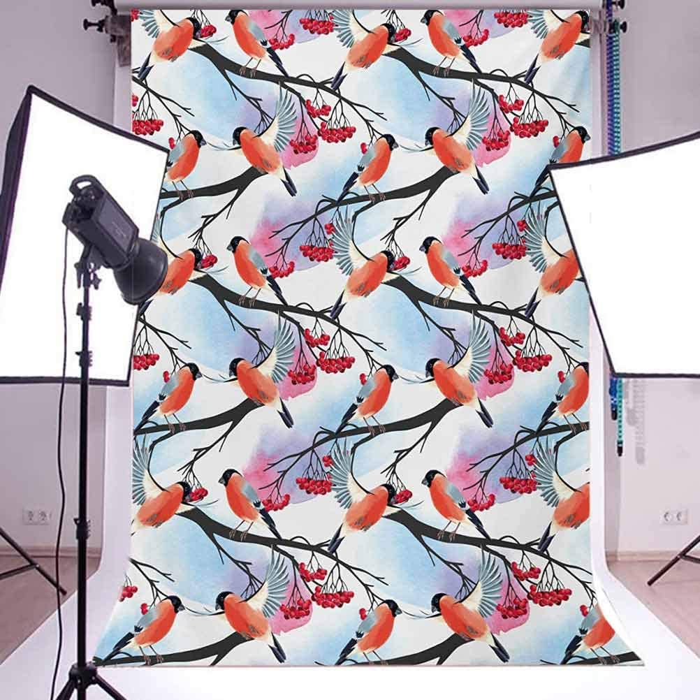 Rowan 10x12 FT Photo Backdrops,Bullfinch Birds with Open Wings on Rowan Shrubs with Ripe Berries Art Pattern Print Background for Photography Kids Adult Photo Booth Video Shoot Vinyl Studio Props