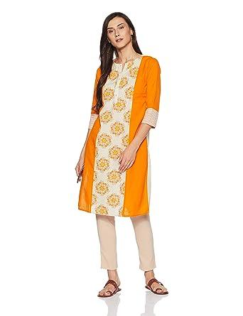 1611b302b Rangmanch By Pantaloons Women s Straight Kurta (110042078006 Orange Small)