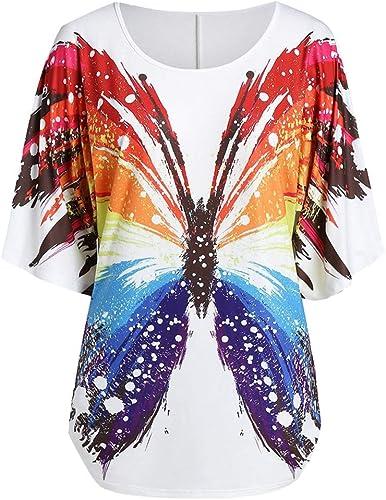 ღLILICATღ Camisetas Mujer Manga Corta Verano Originales Mariposas Estampado Expuesto Casual Cuello Redondo Blusa Camisas Tallas Grandes: Amazon.es: Zapatos y complementos