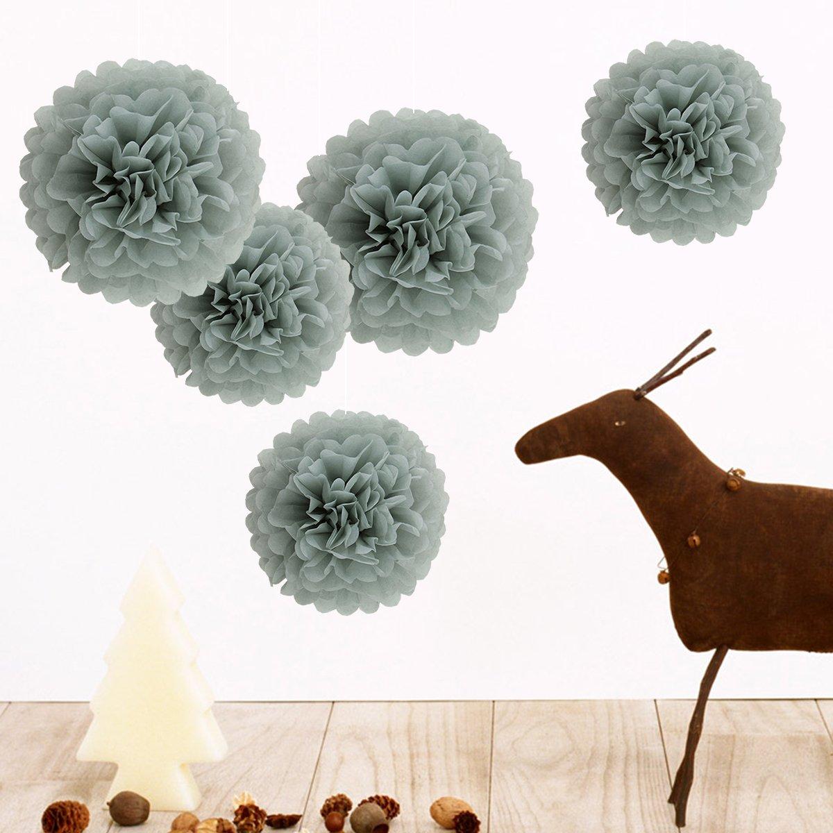 Achollo 5 pezzi di pompom colorati fai da te colori bianco, baby shower da sposa 25cm, 35cm