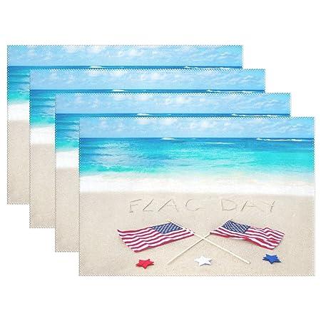 naanle azul playa la bandera americana día manteles individuales ...