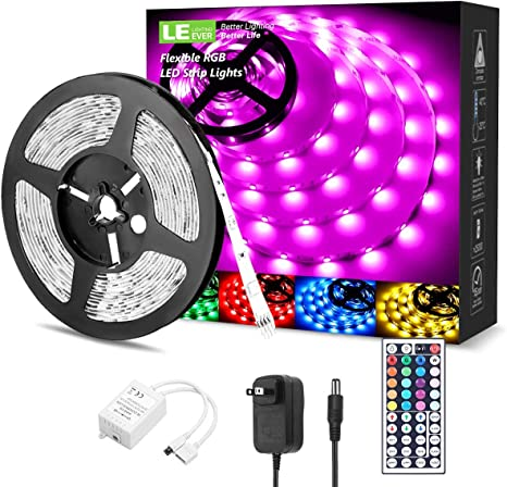 Amazon Com Led Strip Lights 16 4ft Rgb Led Light Strip 5050 Smd Led Color Changing Tape Light With 44 Keys Remote And 12v Power Supply Led Lights For Bedroom Home Decoration Tv Backlight