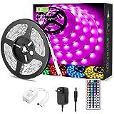 LED Strip Lights 16.4ft, RGB LED Light Strip, 5050 SMD LED Color Changing Tape Light with 44 Keys Remote and 12V Power…