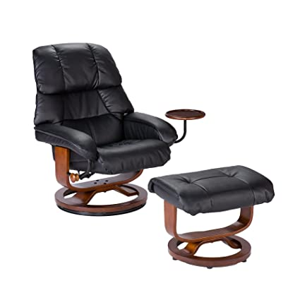Southern Enterprises Bonded Leather Recliner And Ottoman   Black