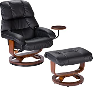 Bonded Leather Recliner and Ottoman - Black