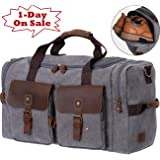 WOWBOX Canvas Travel Duffel Bag Leather Weekender Overnight Bag Large Tote Carry on Bag for Men and Women Unisex