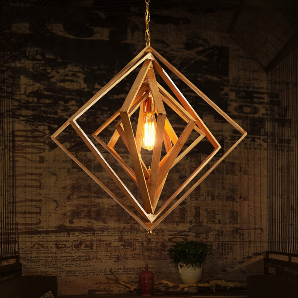Hines 1-Light Chinese Hand Made Bamboo Chandelier Small Lantern Southeast Asian Restaurant Aisle Chandeliers Pendant Light Living Room Tea Room Japanese Wood Ceiling Lamp E27