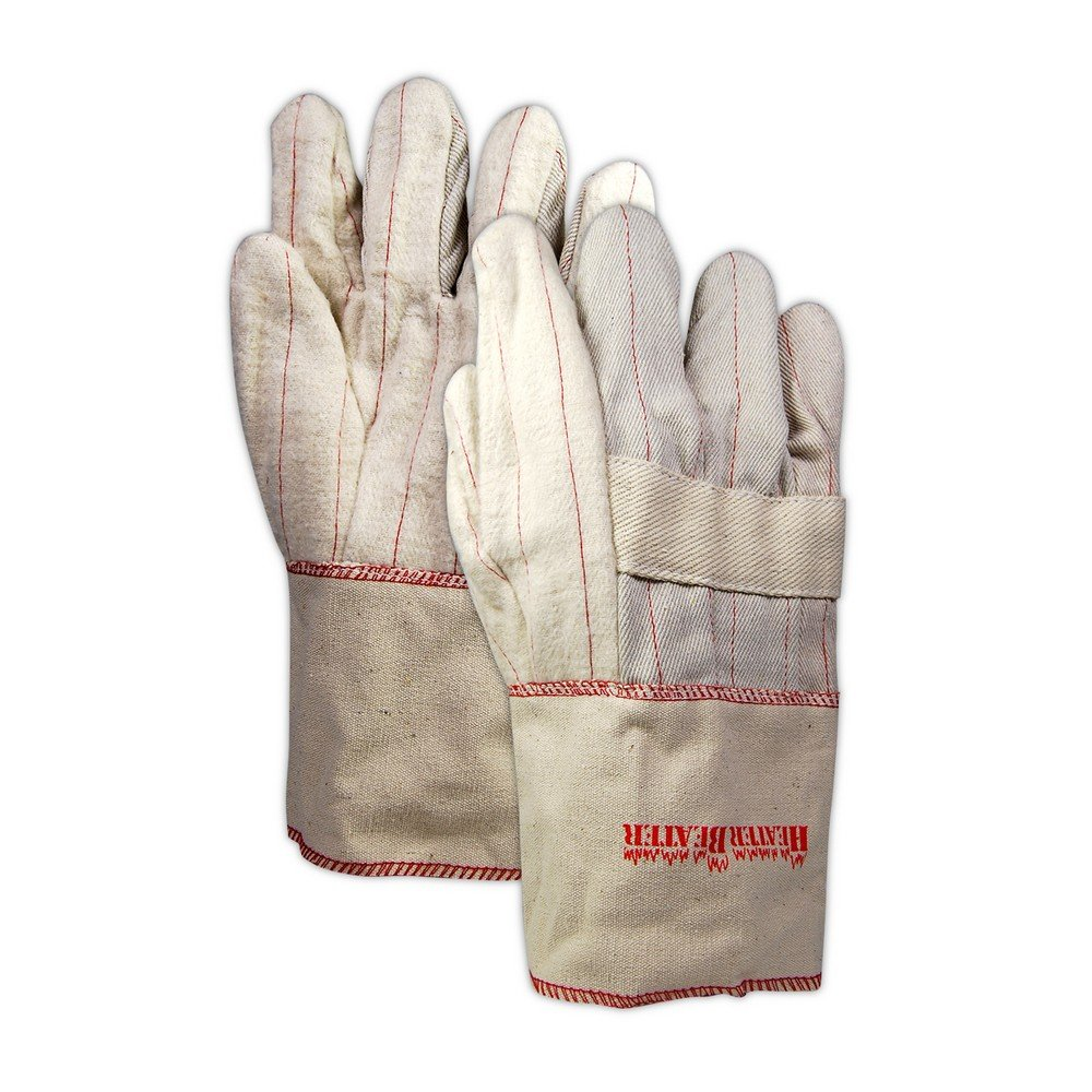 Magid Glove & Safety 598JKSGT Extra Heavy Hot Mill Gloves with Twaron Lining, XL, Off White/Red (Pack of 12)