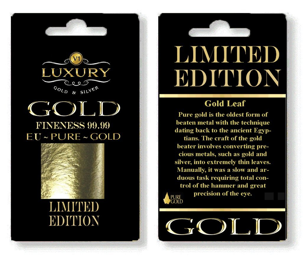 (E175) edible 24ct genuine 10 sheets gold leaf 30mm x 30mm edible pure gold