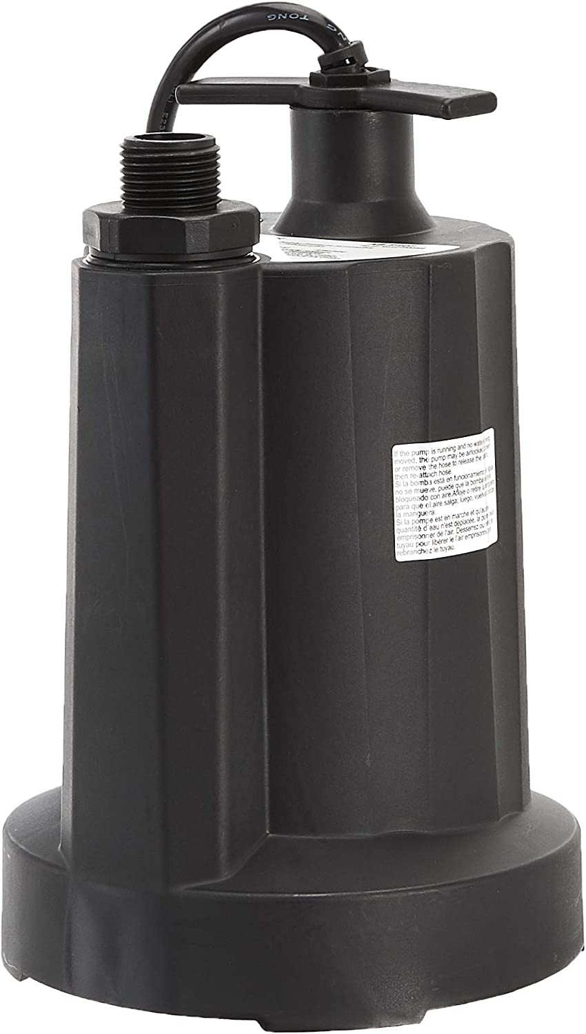 AmazonCommercial 1/3 HP Thermoplastic Submersible Utility Pump, Black