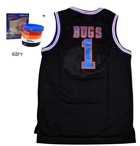 b4171d09805 Amazon.com: masmigs Bugs Bunny Space Jam Basketball Jersey with Themed  Wristbands, Black, Small: Toys & Games