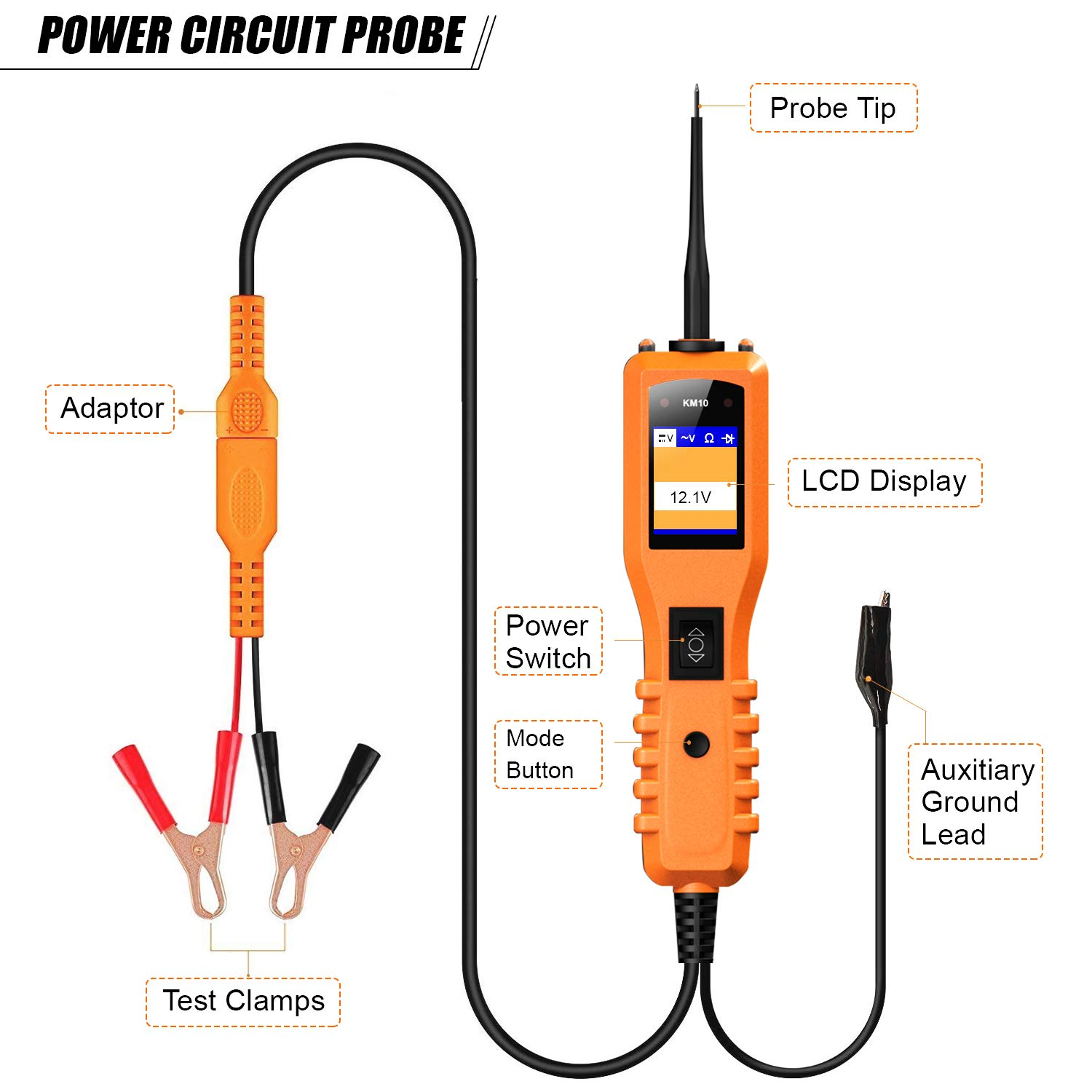 KM10 Automotive Circuit Tester Power Probe Kit Diagnostic Test Tool Vehicle Voltage Signal Diagnostic/Components Activated/Continuity Short Testing for 12-24V Auto Electrical System by Quicklynks (Image #4)