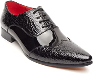 a65dca7110ea Rossellini Fellini Zx Mens Shoes Black Leather Lined Metal Pointed Rock Shoe