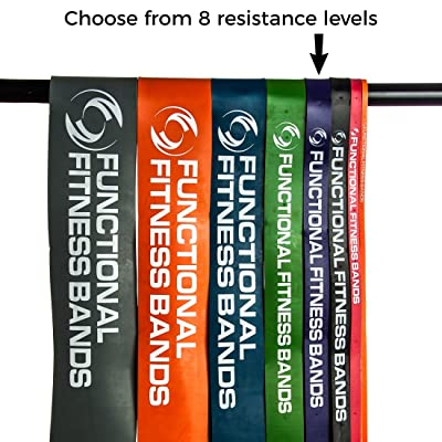 Functional Fitness 41 inch Continuous Loop Crossfit Pull up Band - (8 sizes, available in 15, 35, 50, 80, 120, 150, 170, and 200 pound options, 6-Month Warranty) assisted pull-ups, chin-ups, powerlifting, rehab, physical ther