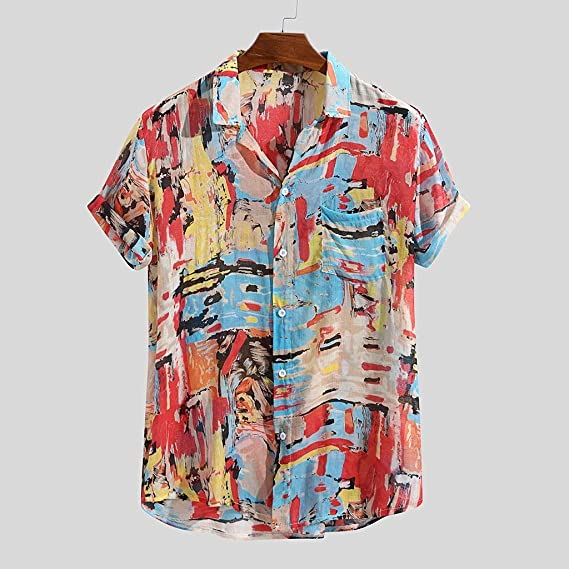 Luckycat Camisa de Lino Hombre Funky Camisa Hawaiana Señores Manga Corta Bolsillo Delantero Impresión de Hawaii Playa: Amazon.es: Ropa y accesorios