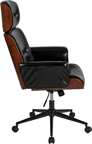 Flash Furniture Contemporary Black LeatherSoft High Back Walnut Wood Executive Swivel Ergonomic Office Chair