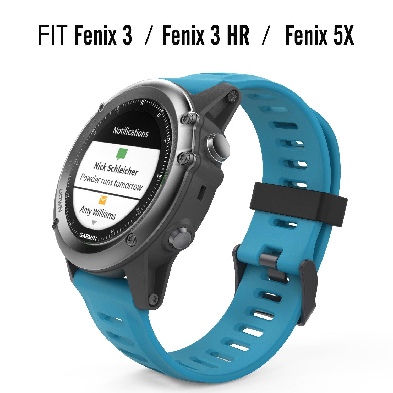 MoKo Pulsera para Garmin Fenix 3/Fenix 3 HR/Fenix 5X/5X Plus/D2 Delta PX, Correa Pulsera de Silicona Respirable y Reemplazable, Banda de Reloj ...