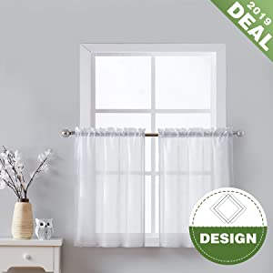 "Fmfunctex White Kitchen Curtains 24"" Sheer Tier Curtain Set with Diamond Pattern Small Half Window Curtains Café Curtains for Laundry Room 2-Pack"