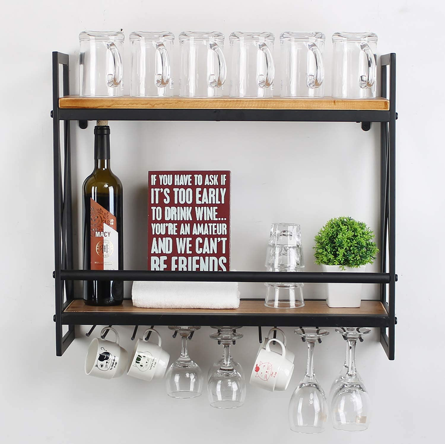 Amazon Com Mbqq Rustic Wall Mounted Wine Racks With 6 Stem Glass Holder 23 6in Industrial Metal Hanging Wine Rack 2 Tiers Wood Shelf Floating Shelves Home Room Living Room Kitchen Decor Display Rack Home Kitchen