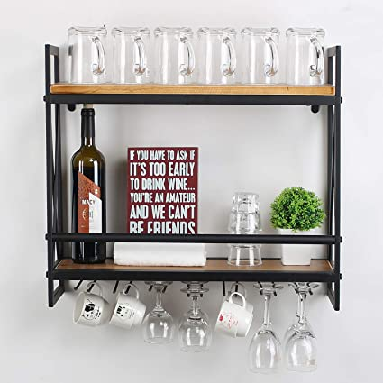 MBQQ Rustic Wall Mounted Wine Racks with 5 Stem Glass Holder,23.6in Industrial Metal Hanging Wine Rack,2-Tiers Wood Shelf Floating Shelves,Home Room Living Room Kitchen Decor Display Rack : Amazon.in: Home & Kitchen